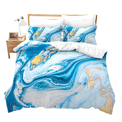 Chic Girly Marble Duvet Cover Full Marble Printed Bedding Sets Gold Glitter Turquoise Blue and White Marble Abstract Art Comforter Cover with Zipper Ties, Soft Microfiber Modern Marble Decor Quilt