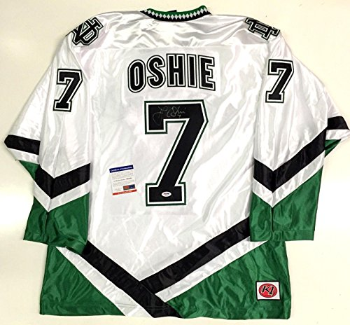 Tj Oshie Signed North Dakota Fighting Sioux White Jersey Psa/dna Coa Capitals - Autographed NHL Jerseys