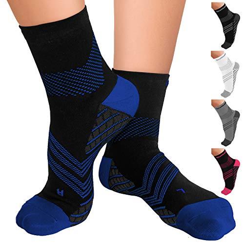 TechWare Pro Plantar Fasciitis Socks – Therapy Grade Cushion Ankle Compression Socks Women & Men. Nano Socks & Arch Support (Blk/Blu Small)