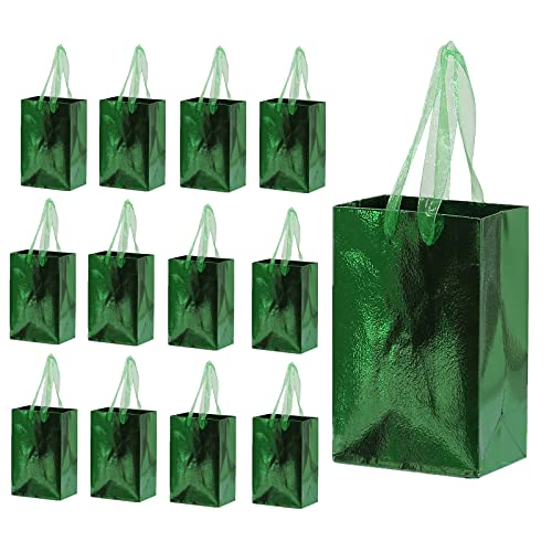 Small Gift Bags, 12pcs 6x2.5x4 Inch Paper Gift Bags Bulk With Handles,Metallic Glossy Green Mini Goodie Bags, Perfect For Treats, Candies, Cookies,Chocolates,Jewelry And Other Party Favors