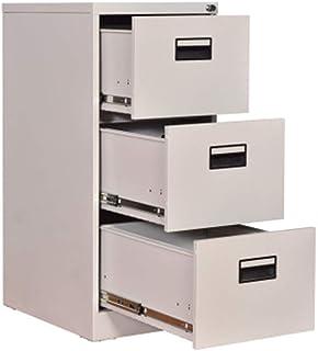KANJJ-YU Blanc - Dépôt tiroirs surdimensionné poignée à trois niveaux tiroirs Classeur avec dispositif antivol entièrement...
