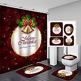 NICEME 4 Piezas Papá Noel Navidad muñeco de Nieve Cortina de Ducha Alfombra de Piso baño muñeco de Nieve Cubierta de Asiento de Inodoro y decoración de Alfombra Juego de baño