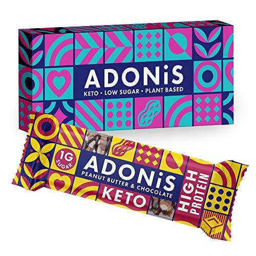 Adonis Keto Protein Riegel | Erdnussbutter & Schokolade Snack Riegel | 100% Natürliche Nuss Snacks, Low Carb, Vegan, Glutenfrei, Low Sugar, Paleo Bars - 6er Box
