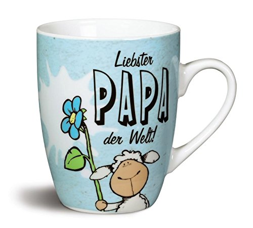 Nici 40009 Fancy Mugs Tasse Liebster Papa der Welt!, Porzellan, Blau, 10.5 x 12 x 8.5 cm
