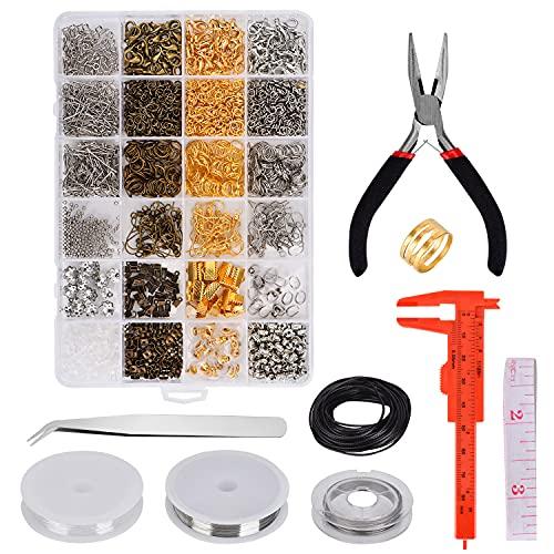 Queta Kit de Hacer Bisutería, Kit de Fabricacion de Joyas Kit de Reparación de Joyería Adecuado para Hacer y Reparar Collares y Pulseras Hacer Accesorios (12 Tipos)
