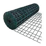 La Bolata - Rollo de malla metálica plastificada cuadrada verde 1,5 x 5 m, valla, cierre de alambre, mallado 25 x 25 mm, grosor 1 mm, ideal para cercar jardines, gallineros, fincas, alta resistencia