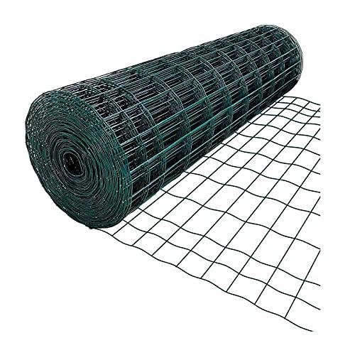 La Bolata - Rollo de malla metálica plastificada cuadrada verde 1,5 x...