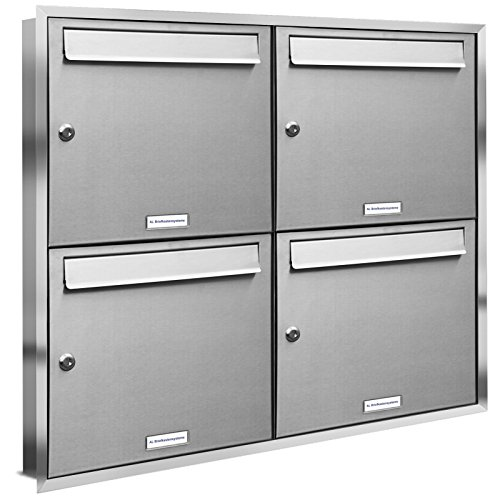 AL Briefkastensysteme, 4er Unterputzbriefkasten, Briefkasten rostfrei, 4 Fach Briefkastenanlage modern, Edelstahl Postkasten