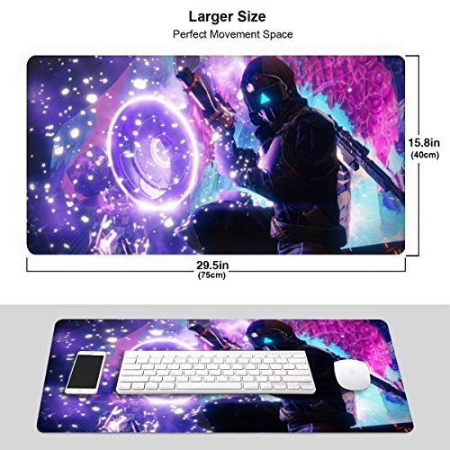 Large Extended Destiny 2 Gaming Mouse Pad XXL Custom Design Computer Gaming Mouse Mat with Smooth Surface ,Large Size Desk Pad with Non-Slip Rubber Base Ideal for Keyboard, PC and Laptop 15.8x29.5 in