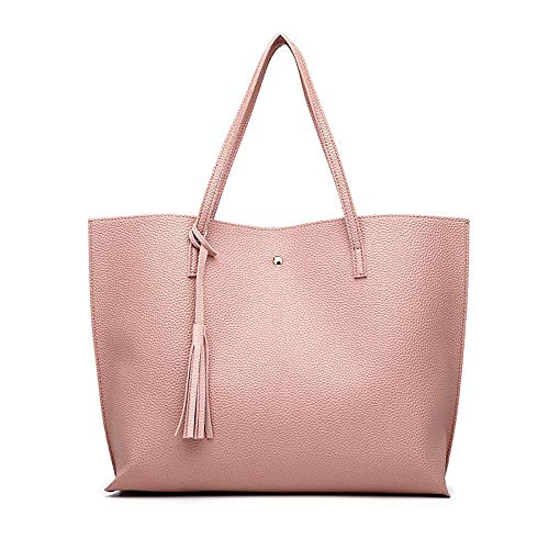 Women's new shopping bags Korean fashion handbags tassel simple shoulder bag large capacity tote bag,Pink