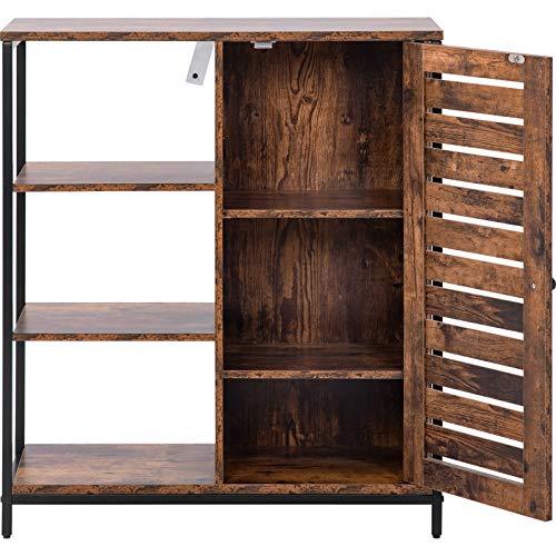PovKeever Sideboard Seitenschrank Küchenschrank, Lagerschrank mit 3 offenen Ablagen, Industriedesign, Stahlrahmen, Vintage Braun+ Schwarz,70 x30 x 80cm
