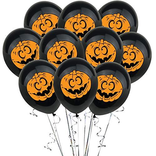 Ladud Wash-2 10 stuks pompoen latex Halloween 12 inch party decoratie ballonnen print zwart unisex volwassenen één maat