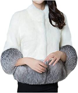 Women's Faux Fur Short Peacoat Thick Long Sleeve Fuzzy Chunky Sweater Cape for Work Daily