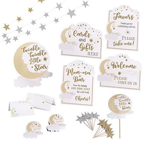 Lillian Rose Twinkle Little Star Baby Shower Decor Set, Gold