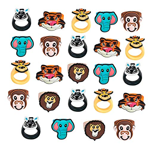 Kicko Zoo Animal Rubber Ring - Pack of 24 1 Inch Party Favor Rings for Children Fashion Accessory, Pretend Play, Cake Toppers, and Safari themed Party Supplies