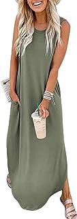 Women's Casual Loose Pocket Long Dress Sleeveless Split...