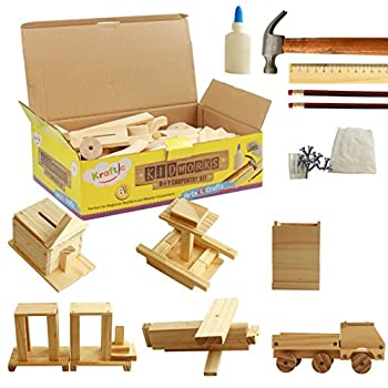 Kraftic Woodworking Building Kit for Kids and Adults with 6 Educational Arts and Crafts DIY Carpentry Construction Wood Model Kit Toy Projects for Boys and Girls