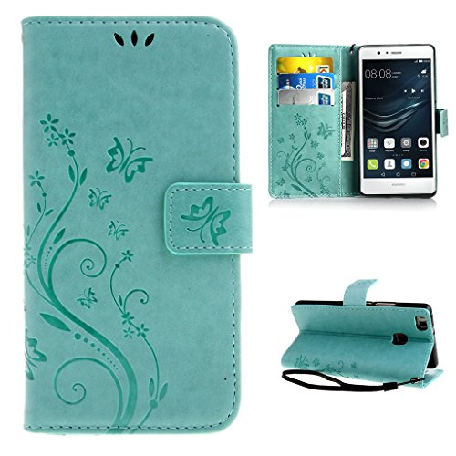 Custodia Huawei P9 Lite Verde Chiaro , Leathlux Retro Fiore Modello Design Con Cinturino da Polso Magnetico Snap-on Book style Internamente Silicone TPU Custodie Case in pelle Protettiva Flip Cover Per Huawei P9 Lite 5.2""