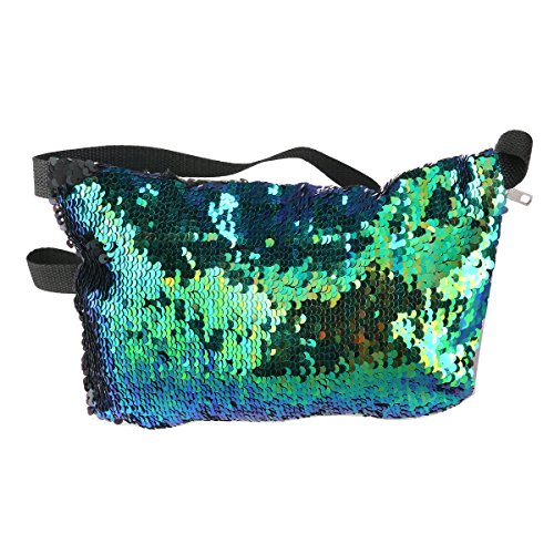 LUOEM Sequins Waist Bag Double Color Casual Outdoor Sports Bag for Women Travel(Blue Green + Black)