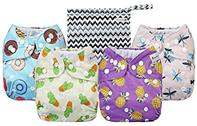 Anmababy 4 Pack Adjustable Size Waterproof Washable Pocket Cloth Diapers with 4 Inserts and Wet Bag(Purple)