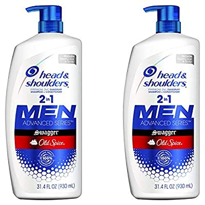 Head and Shoulders Shampoo and Conditioner 2 in 1, Anti Dandruff Treatment and Scalp Care, Old Spice Swagger for Men, 31.4 Fl Oz, Pack of 2