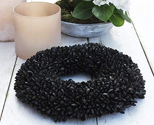 Homeclassics schwarz Shabby Blüten Kranz Türkranz Wandkranz Ø 28 cm Naturkranz Landhaus