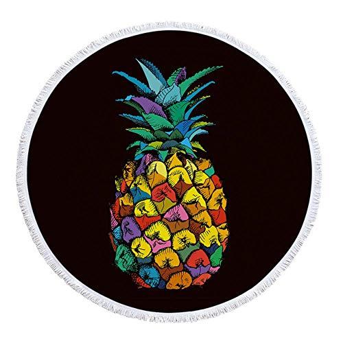 Feiyue Summer Sunbath Piña Cactus Impreso Toalla Grande Grande de Microfibra Redonda Playa con borlas Terry Grueso Servilleta de Plage, Color 1, diámetro 150 cm