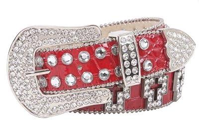 Western Rhinestone Cross Ornaments Croco Print Leather Belt, Red | L/XL - 39