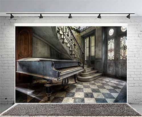 Leyiyi 8x6ft Photography Background Vintage Castle Inside Backdrop Wedding Ceremony Piano Staircase Old Building Middle Age Architecture Abandoned Room Doorway Hall Photo Portrait Vinyl Studio Prop
