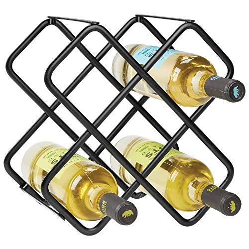 mDesign Estante para botellas y vino – Bonito botellero de metal en tres niveles con capacidad para hasta 5 botellas – Mueble botellero de pie para botellas de vino y otras bebidas – negro