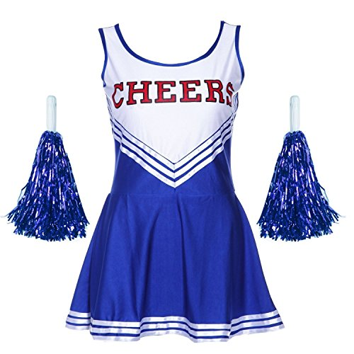 G-Kids Damen Mädchen Cheerleader Cheerleading Kostüm Uniform Karneval Fasching Party Halloween Kostüm Kleid Minirock mit 2 Pompoms Blau S