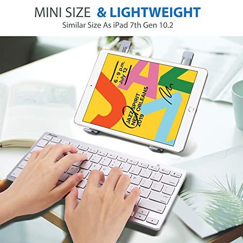 ProCase Universal Kabellose Tablet US-Englisch Tastatur (QUERTY- US Layout) für Laptop Handy, Ultra dünn und leicht Tragbar Wireless Keyboard für iOS, Android, Windows Geräten -Silber