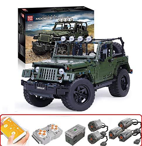 PEXL Technik Geländewagen Bausteine Bausatz für Jeep Wrangler, Technic 4x4 Off-Roader mit Fernbedienung und Motor, 2000 Klemmbausteine Kompatibel mit Lego Technic