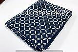 handicraftofpinkcity indische Baumwolle Stoff Blau Dye