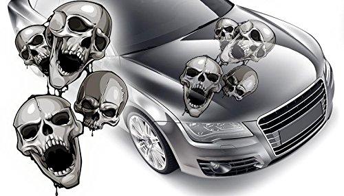 Totenschädel Aufkleber fürs Auto Skull Autoaufkleber Gothik Aufkleber 60 x 102 cm (60 x 102 cm)