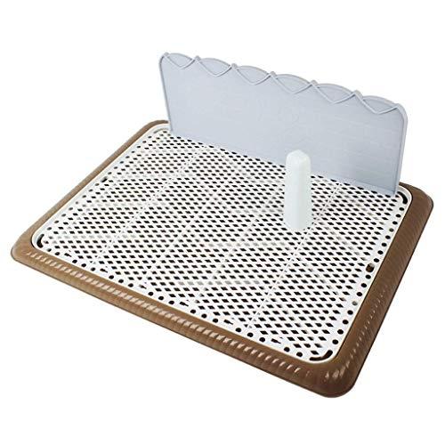 ZTMN Heimtierbedarf Hundetraining Toilettendeckel Mesh-Tablett mit Säule und Wandhalterung für den Innenbereich im Freien (Farbe: Kaffee, Größe: S)