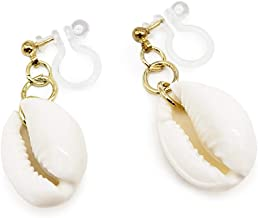 NATURAL COWRIE SHELL Silicone Plastic Earring Handmade in USA Fish Hook Push Back Ear Cuff