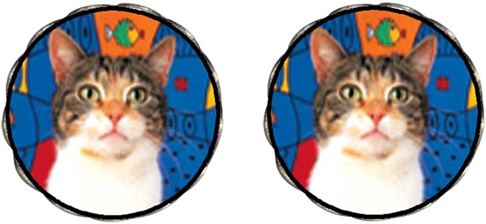 GiftJewelryShop Bronze Retro Style White Striped Cat Photo Clip On Earrings Flower Earrings 12mm Diameter