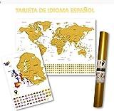Global Walkabout ESPAÑOL - Mapa del rasguño mundial y mapa de rasguño europeo adicional con fondo de banderas - Regalo De Viaje (White)