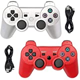 Tidoom PS3 Controller Wireless Bluetooth Gamepad Compatible for Playstation 3 Controller PS3 Remote Controller with Charging Cables Silver and Red