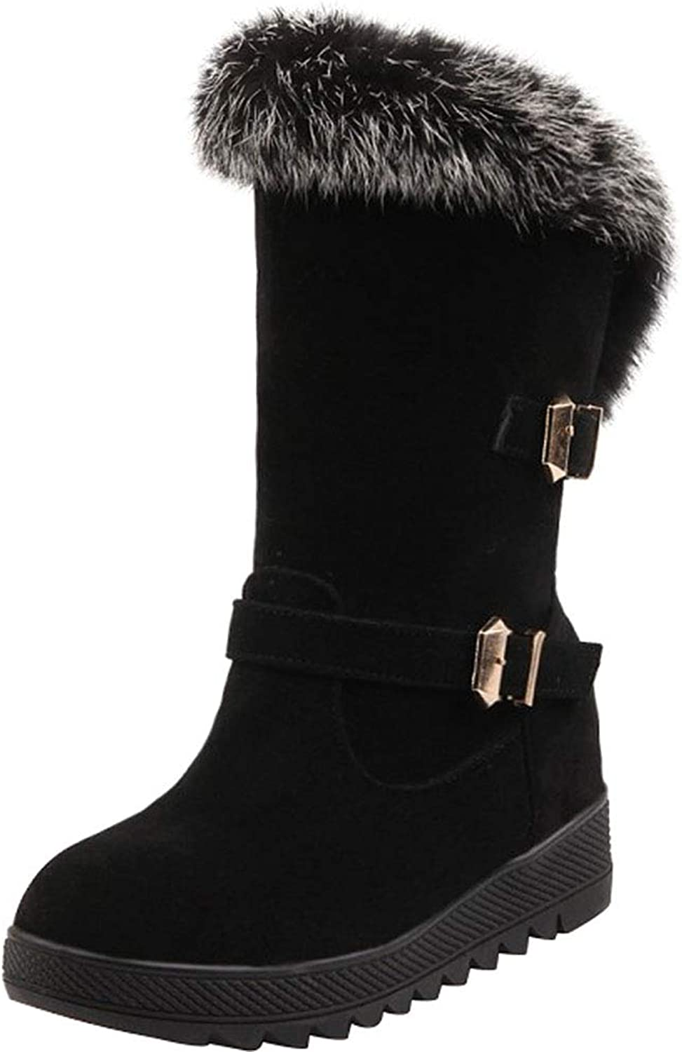Sekesin Women Winter Snow Boots Mid Calf Ladies Faux Fur Warm shoes Slip-On Suede Round Toe Martin Boots Heel