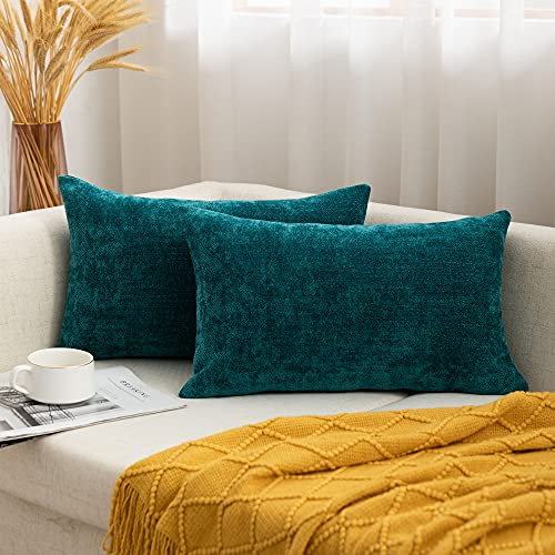 Chenille Cushion Cover Teal Decorative Throw Pillow Case for Couch Livingroom Home Sofa Chair Bedroom, 2 Pack 30x50CM
