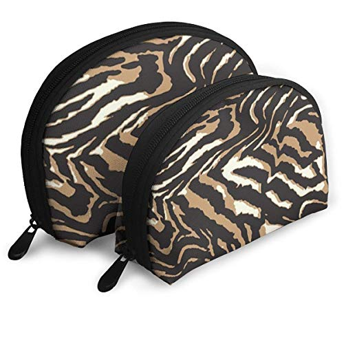 XCNGG Bolso de mano grande de cuero de cebra para cosméticos, bolsos portátiles, organizador de bolsos con cremallera, 2 piezas