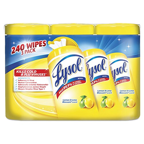 Lysol RAC84251 Disinfecting Wipes, 7 x 8, Lemon/Lime, 80 Wipes/Canister, 3/Pack