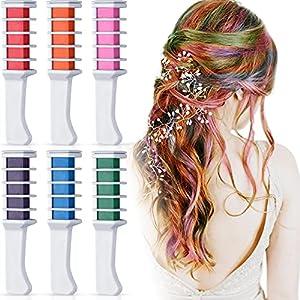 Kalolary 6 colores Tizas Para el Pelo, Tiza temporal para el cabello para niñas Hair Chalk Peine de tiza no tóxico, para niños, ideal para Navidad, cumpleaños, fiestas, regalos para niñas y niños