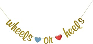 Wheels or Heels Gender Reveal Banner, He or She Bunting, Boy or Girl Baby Shower Party Decorations Gold Glitter