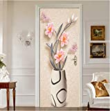 ZPCR PVC Self Adhesive Waterproof Mural Wallpaper 3D Stereo Fashion Simple Vase Flowers Door Sticker Living Room Bedroom Home Decor