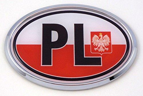 Poland PL Polska Polish Flag Car Chrome Emblem Bumper Sticker Flag Decal Oval