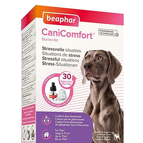 BEAPHAR – CANICOMFORT - Diffuseur électrique de phéromones pour chien – Réduit le stress et les problèmes comportementaux sans dépendance ni somnolence – Prêt à l'emploi - 1 prise + 1 recharge 48 ml