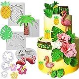 7 PCS JeVenis Tropical Cake Decoration Flamingo Fondant Mold Hawaiian Baby Shower Cake Mold